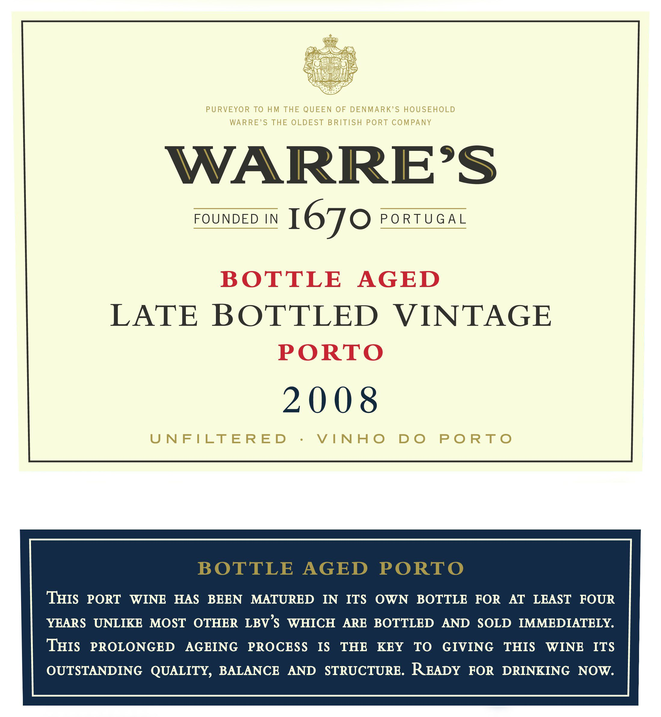 Warre's Late Bottled Vintage Port 2008  Front Label