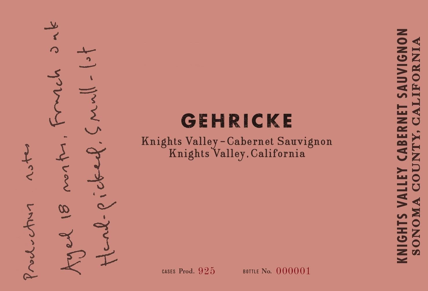 Gehricke Knights Valley Cabernet Sauvignon  2016 Front Label
