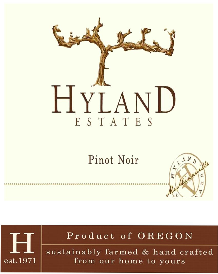 Hyland Estates Estate Old Vine Pinot Noir 2018  Front Label