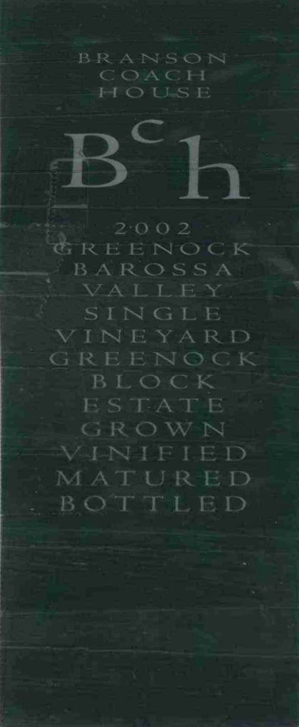 Branson Coach House Coach House Block Shiraz 2002  Front Label