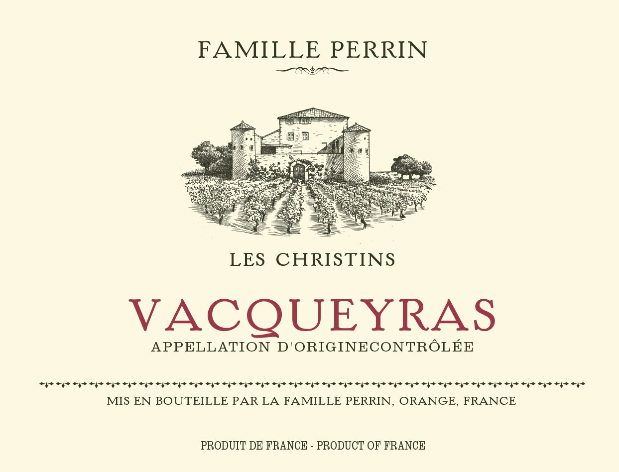 Famille Perrin Les Christins Vacqueyras 2017  Front Label