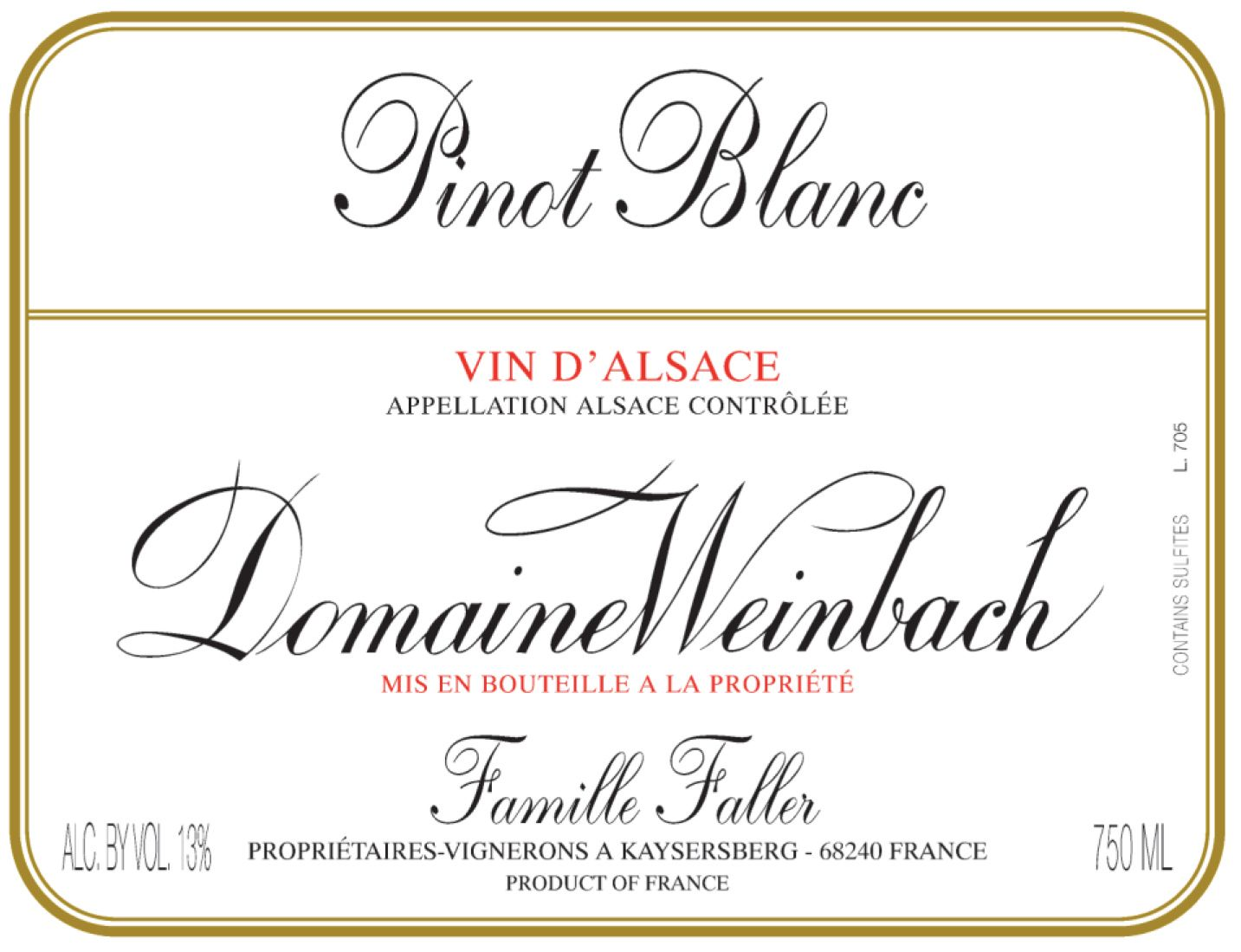 Domaine Weinbach Pinot Blanc 2017  Front Label