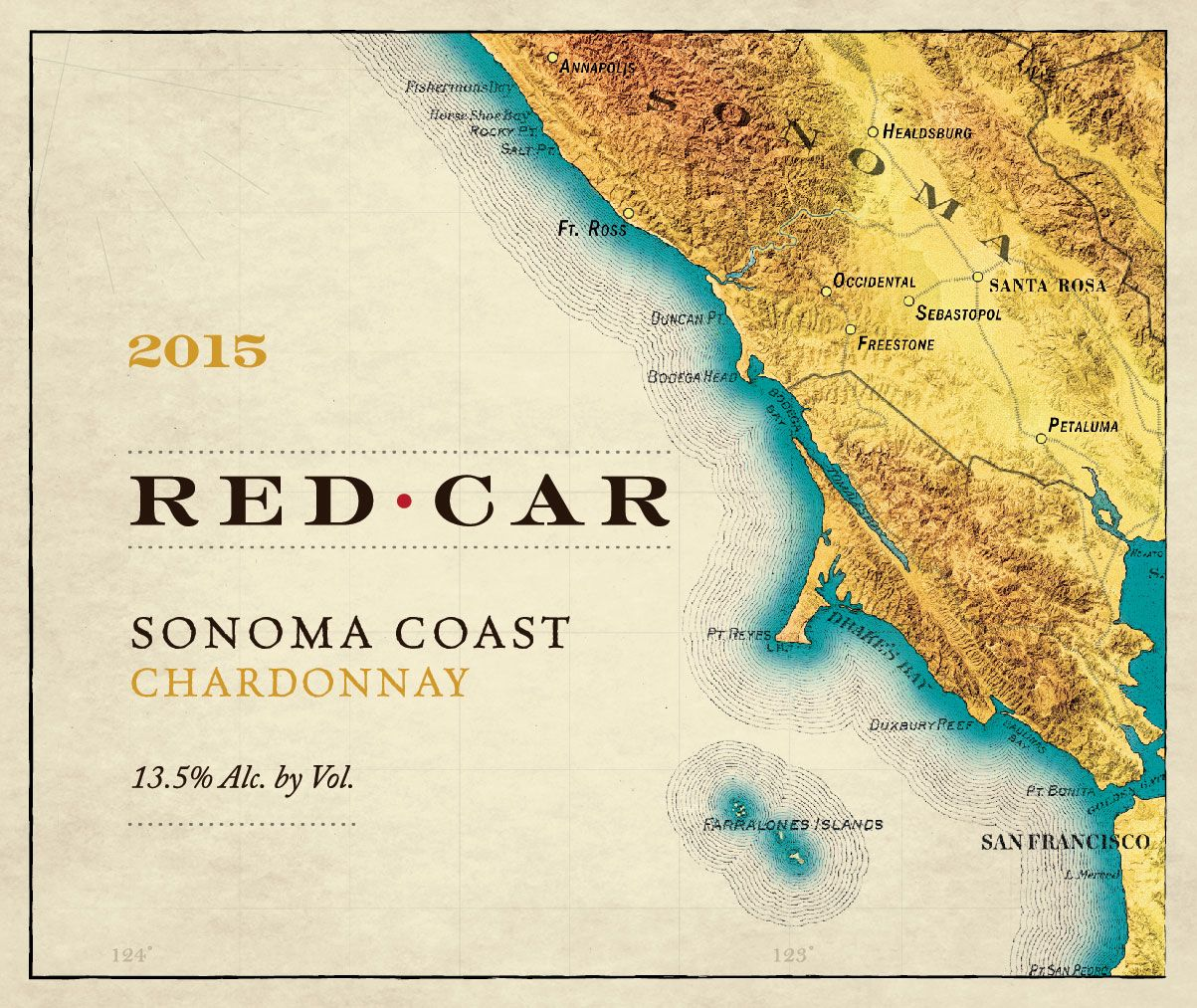 Red Car Sonoma Coast Chardonnay 2015  Front Label