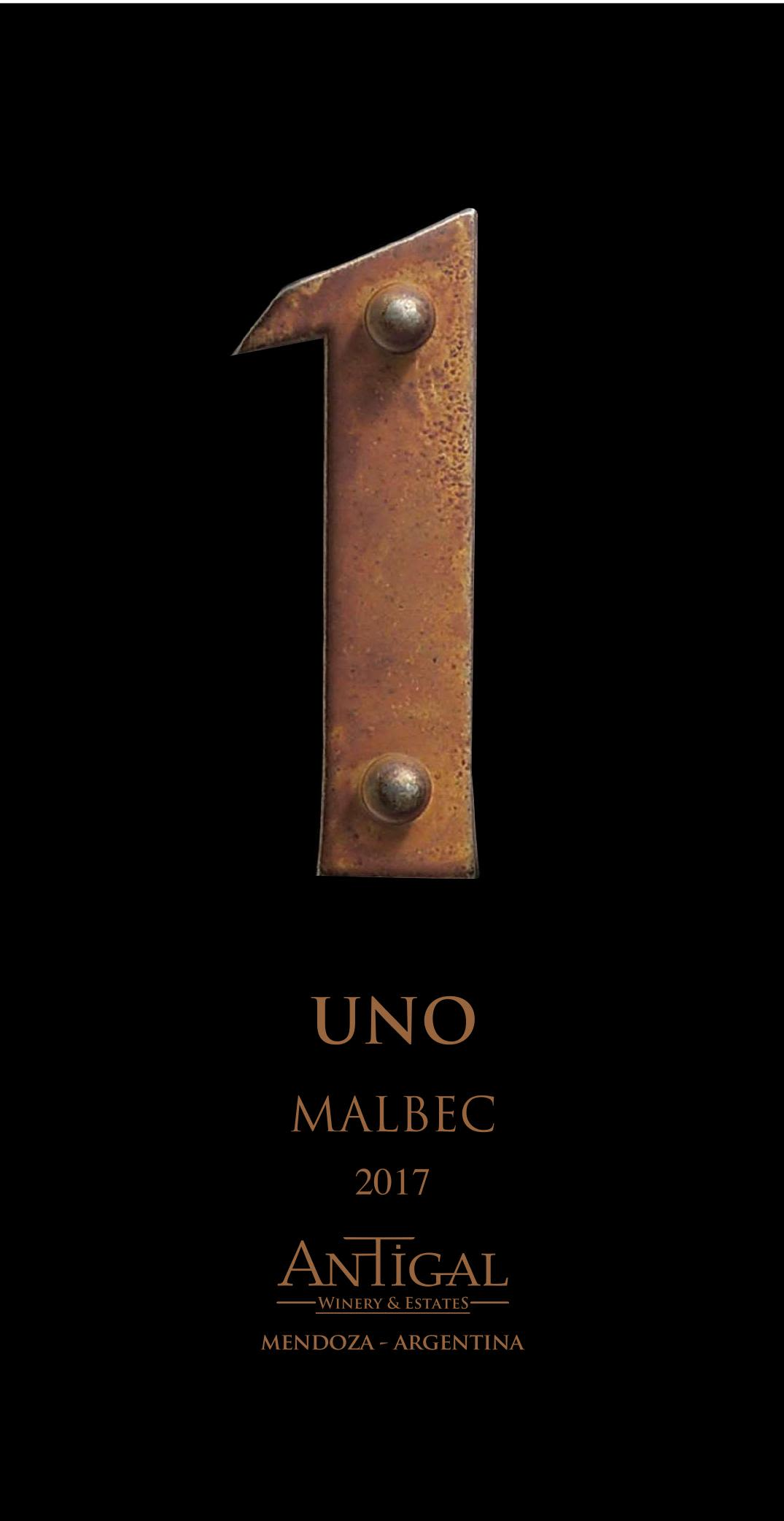 Antigal Uno Malbec 2017 Front Label