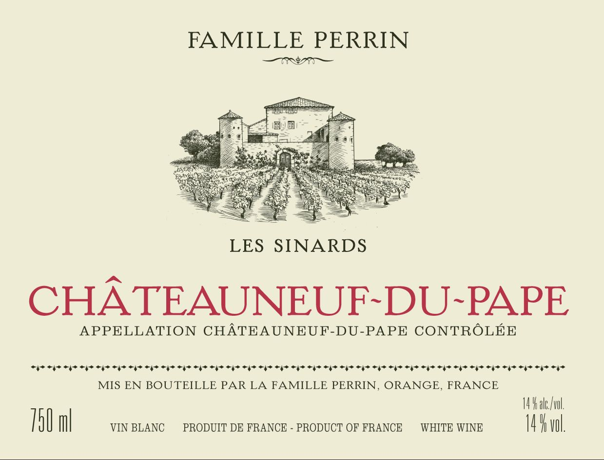 Famille Perrin Chateauneuf-du-Pape Les Sinards Blanc 2017  Front Label