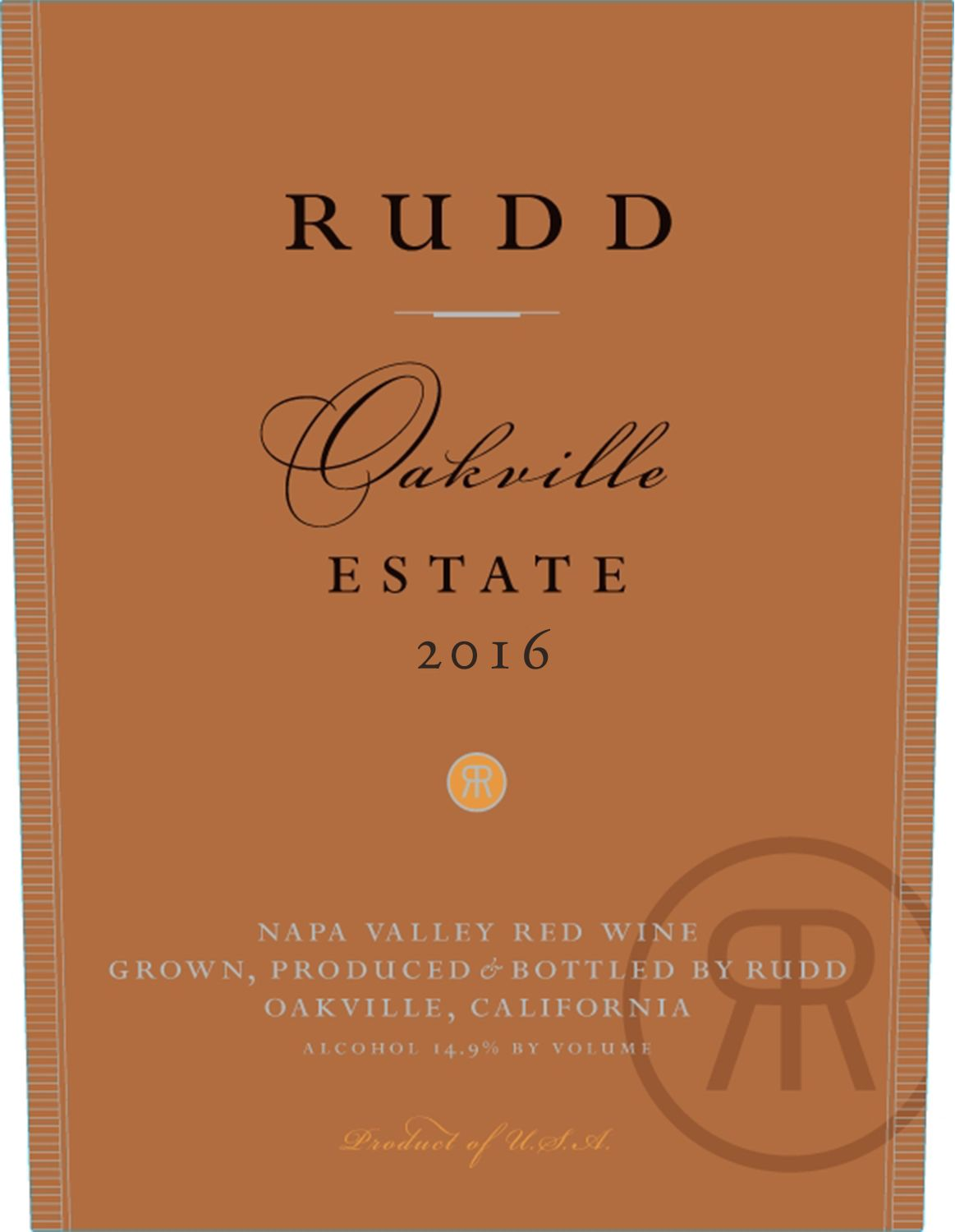 Rudd Oakville Estate Proprietary Red 2016  Front Label