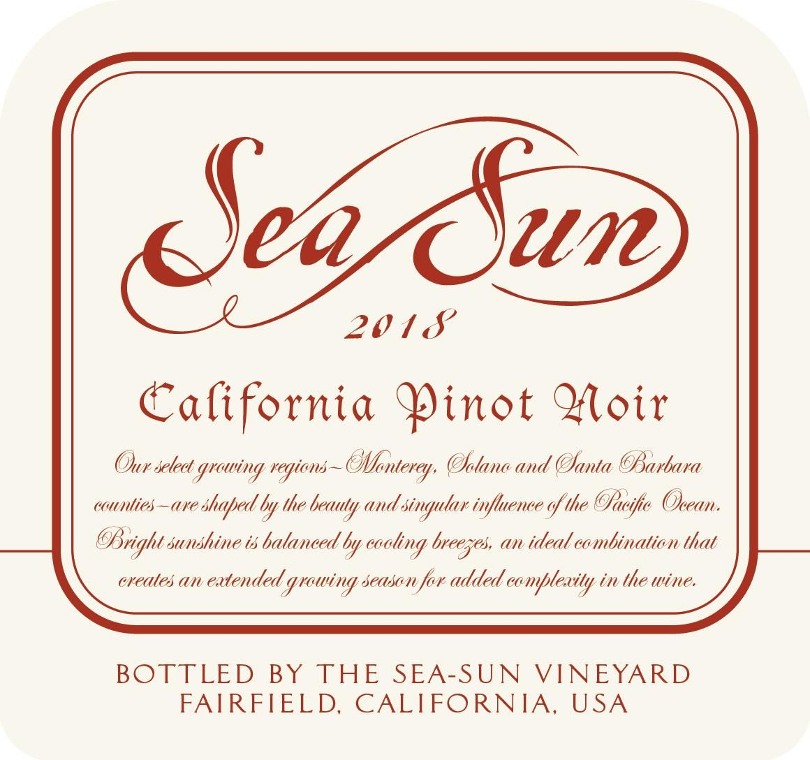 Sea Sun by Charlie Wagner California Pinot Noir 2018  Front Label