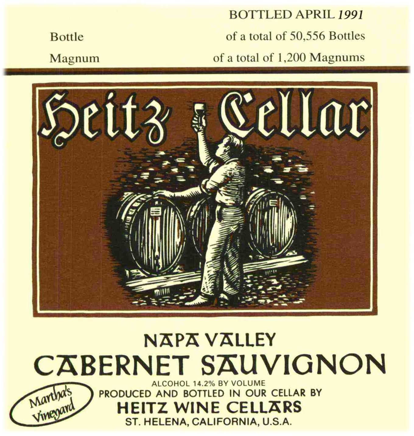 Heitz Cellar Martha's Vineyard Cabernet Sauvignon 1991  Front Label