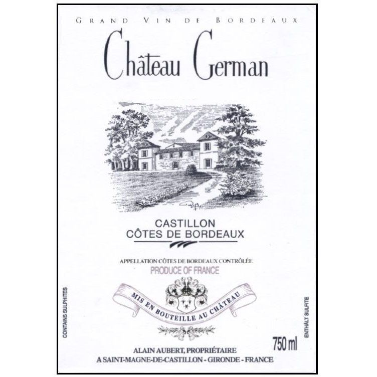 Chateau German  2018  Front Label