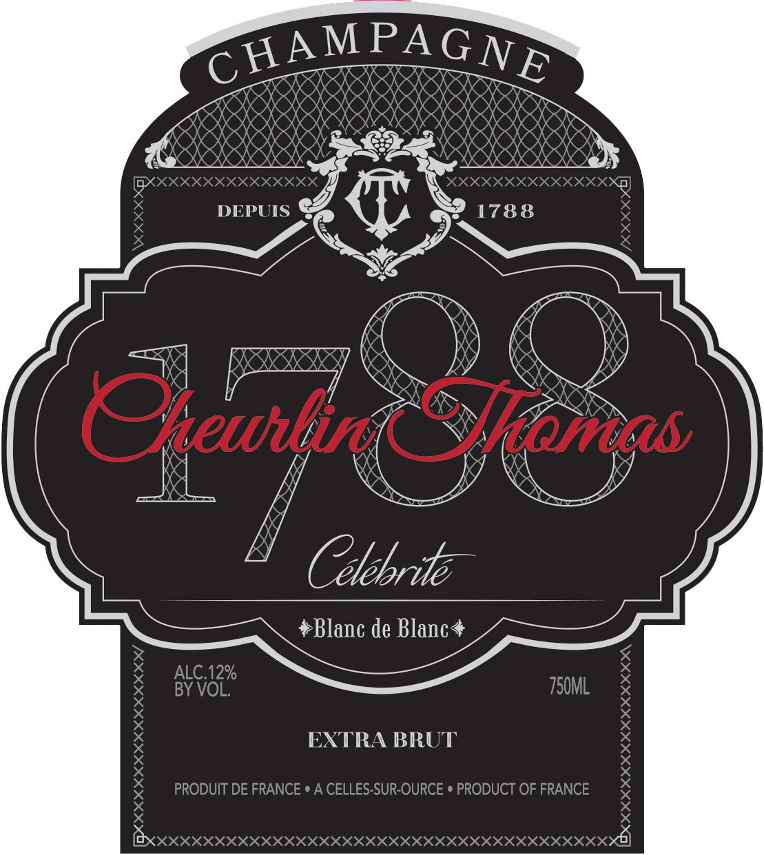Cheurlin Thomas Celebrite Blanc de Blanc Front Label