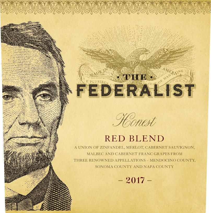 The Federalist Honest Red Blend 2017  Front Label