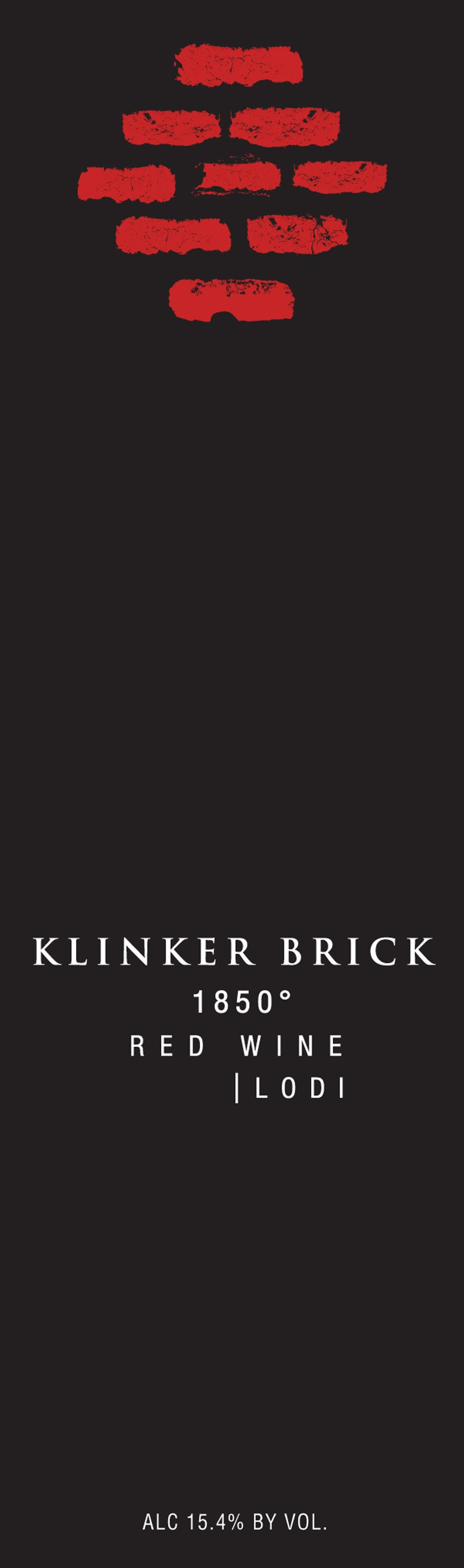 Klinker Brick 1850 Red Wine 2016  Front Label