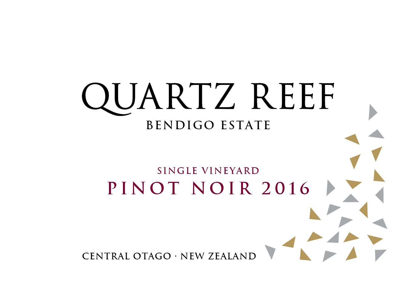 Quartz Reef Bendigo Single Vineyard Pinot Noir 2016 Front Label