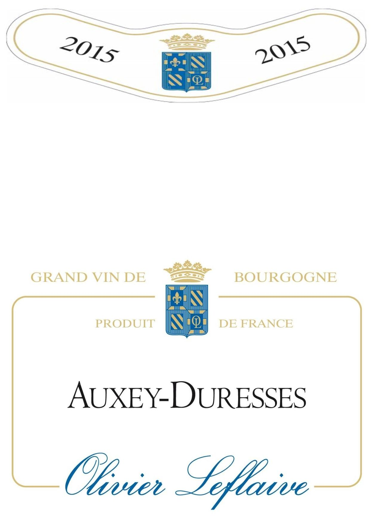 Olivier Leflaive Auxey-Duresses 2015 Front Label