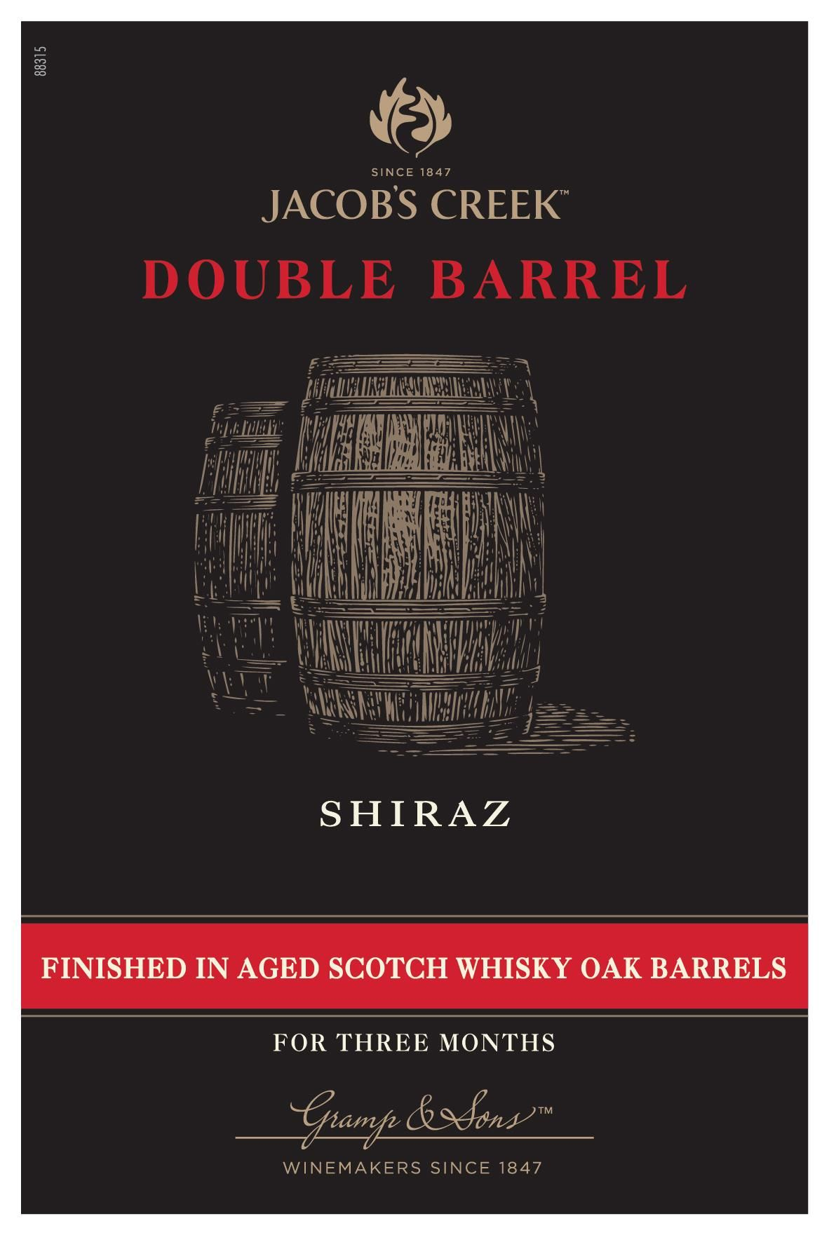 Jacob's Creek Double Barrel Shiraz 2017  Front Label