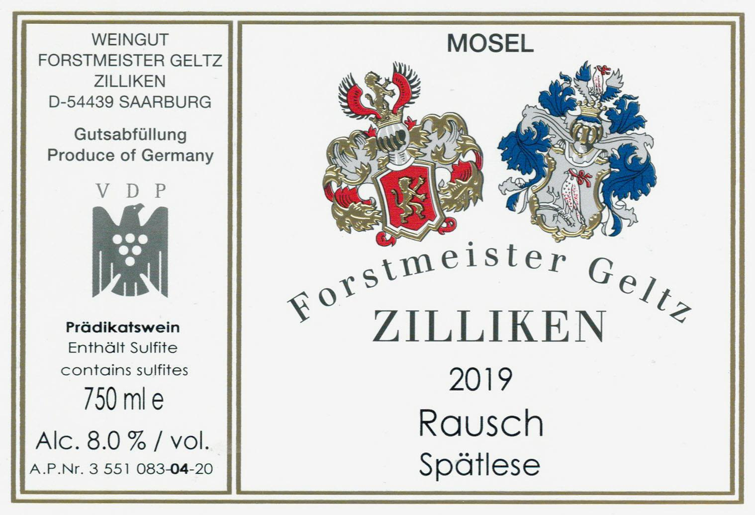 Zilliken Rausch Riesling Spatlese 2019  Front Label