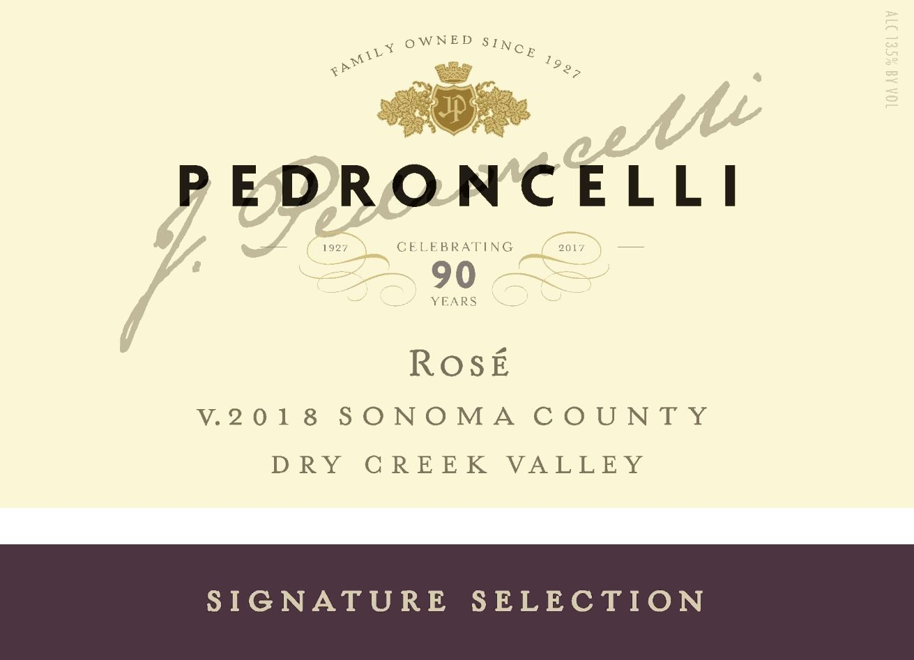 Pedroncelli Rose 2018 Front Label