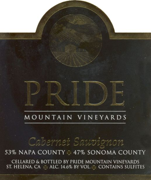 Pride Mountain Vineyards Cabernet Sauvignon 2001  Front Label