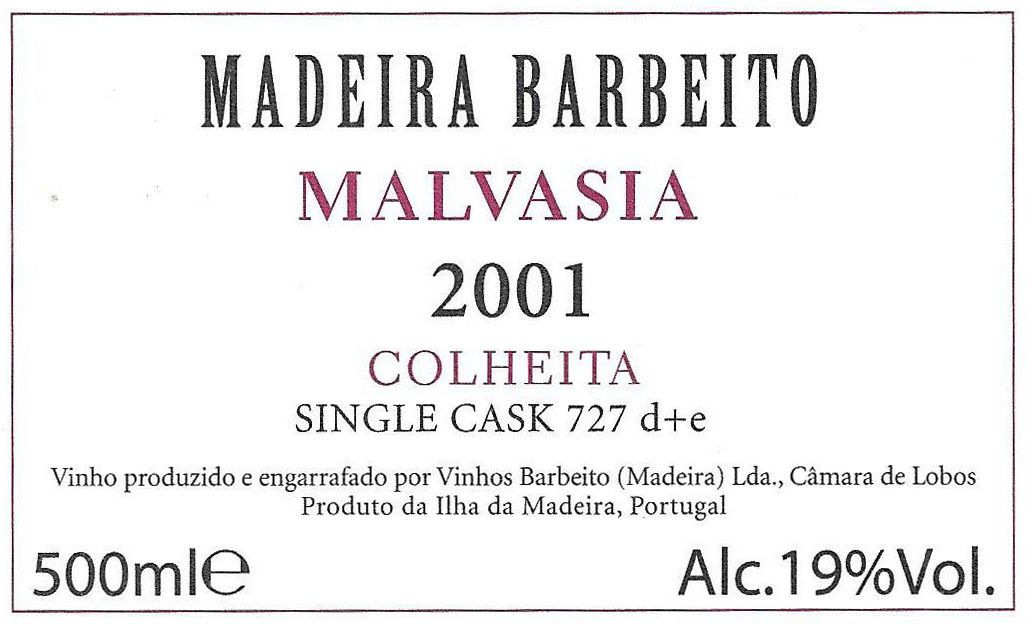 Barbeito Malvasia Single Cask 727 D E (500ml) 2001 Front Label