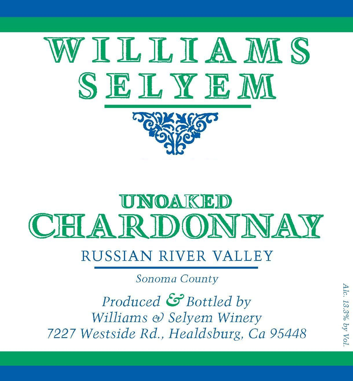 Williams Selyem Unoaked Chardonnay 2018  Front Label