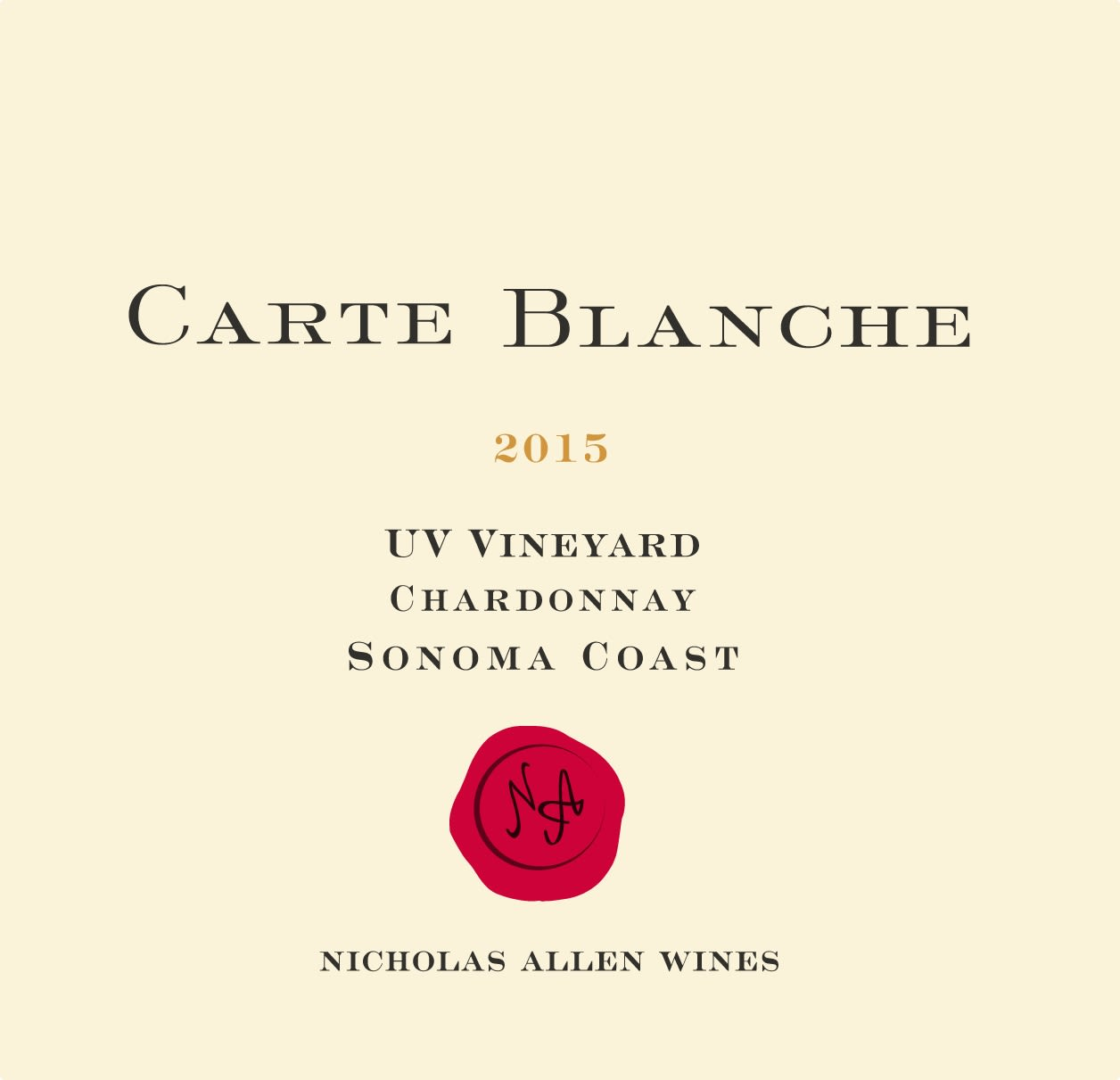 Carte Blanche Chardonnay 2015  Front Label