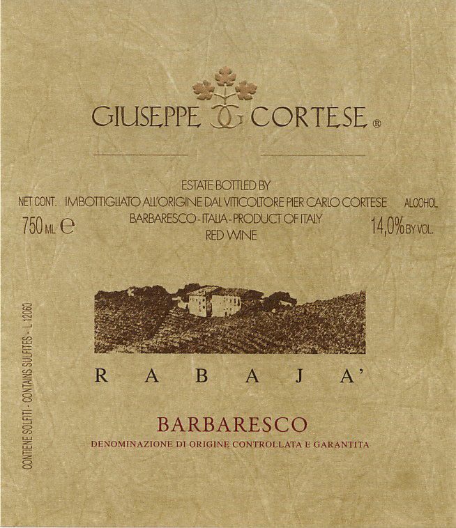 Giuseppe Cortese Rabaja Barbaresco 2017  Front Label