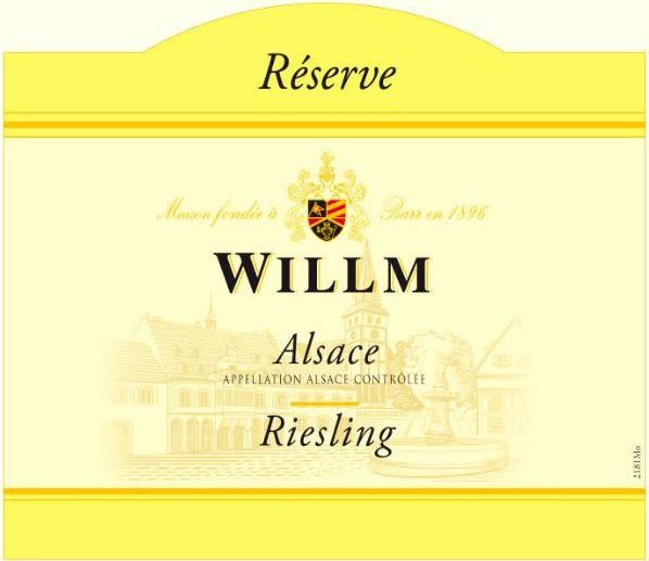 Alsace Willm Riesling Reserve 2018  Front Label