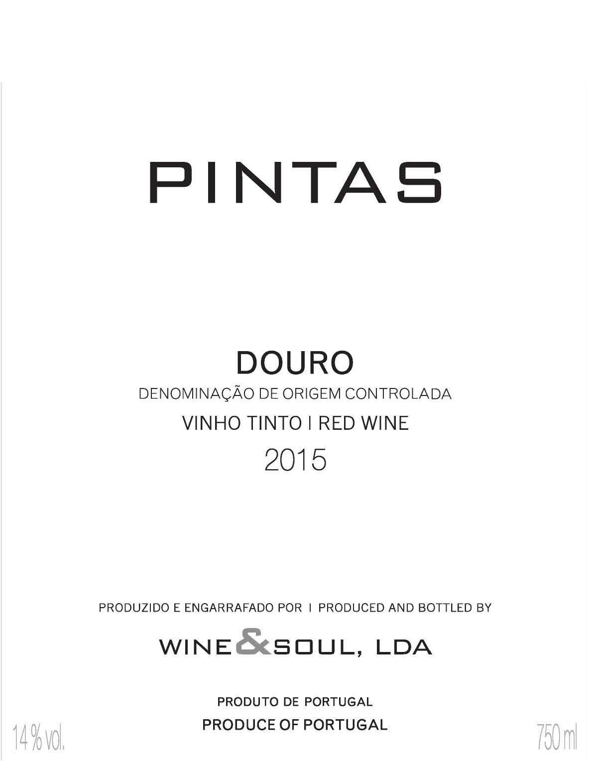 Wine & Soul Pintas 2015 Front Label