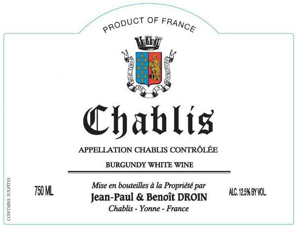 Jean-Paul Droin Chablis 2018  Front Label