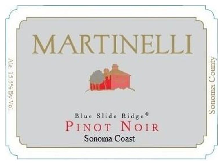 Martinelli Blue Slide Ridge Pinot Noir 2018  Front Label