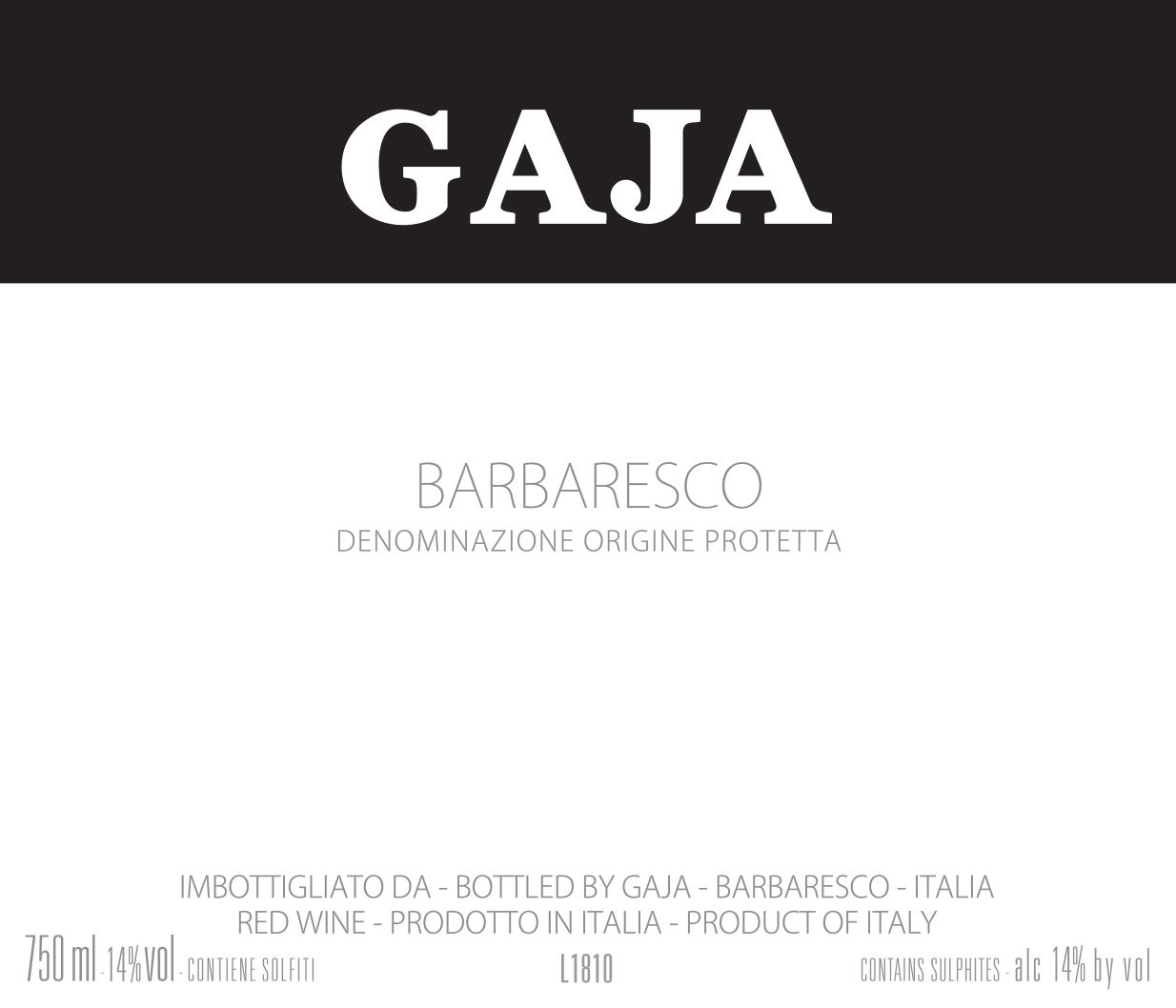 Gaja Barbaresco 2016  Front Label
