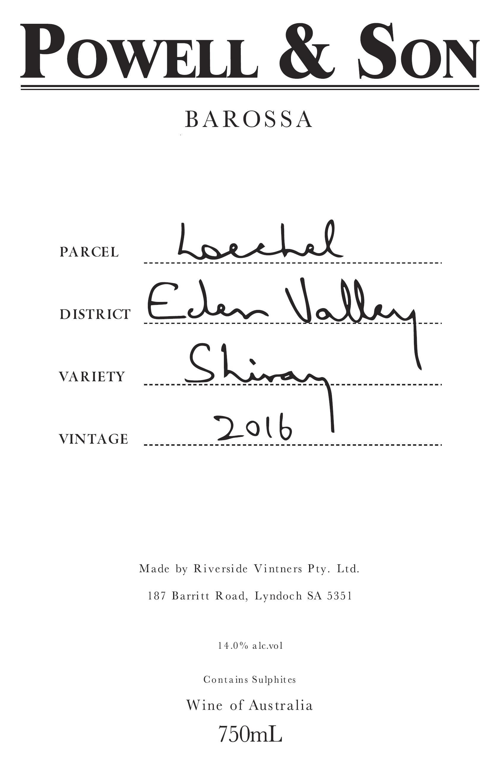 Powell & Son Loechel Eden Valley Shiraz 2016 Front Label