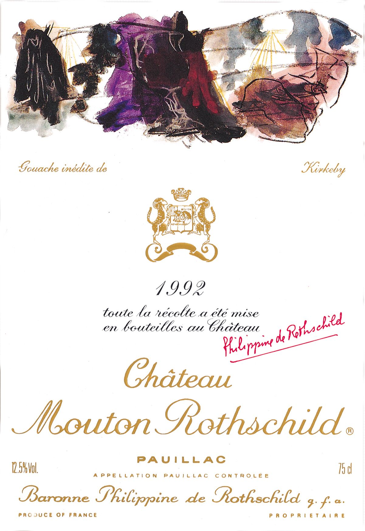 Chateau Mouton Rothschild  1992  Front Label