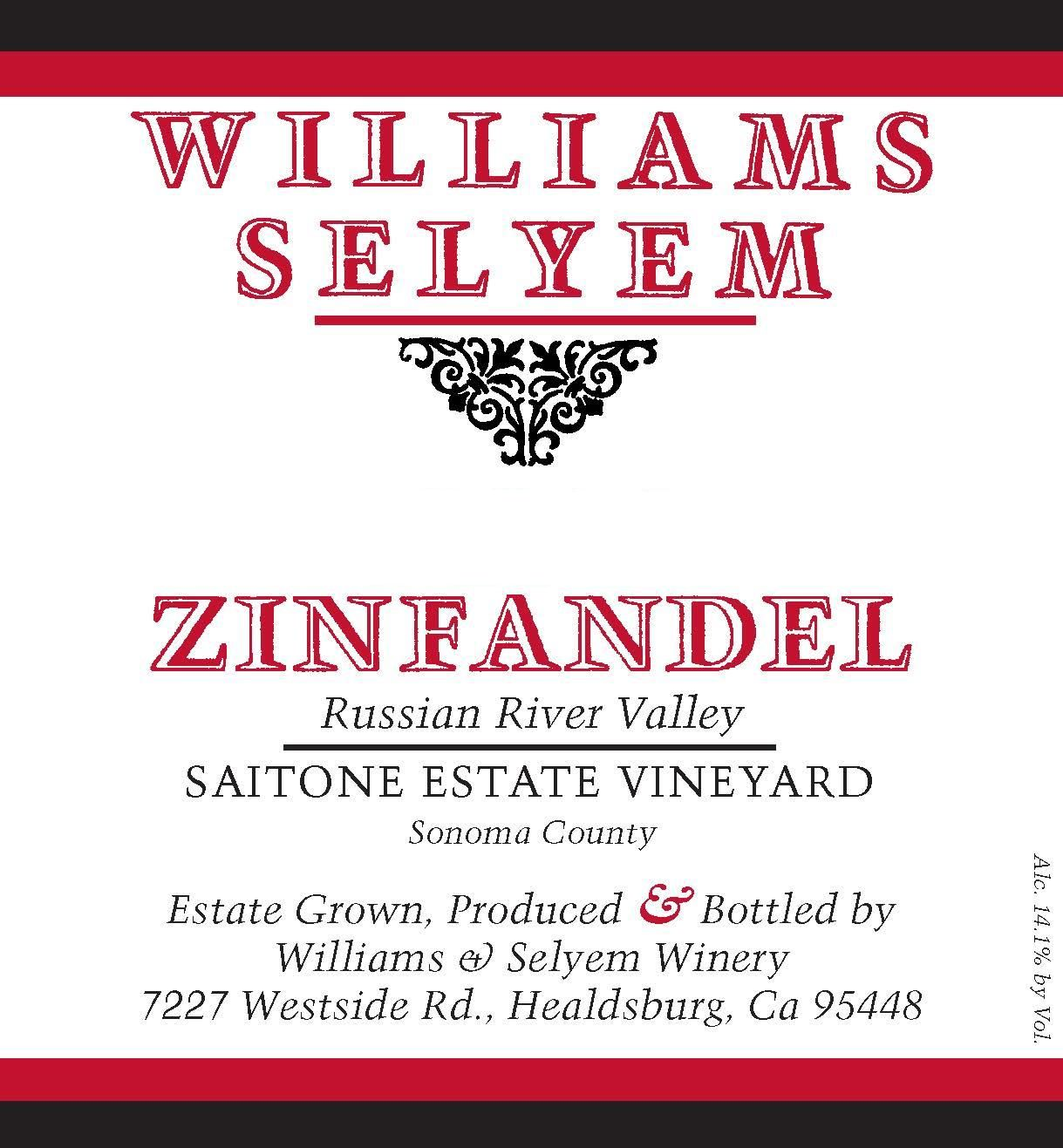 Williams Selyem Saitone Estate Zinfandel 2017  Front Label