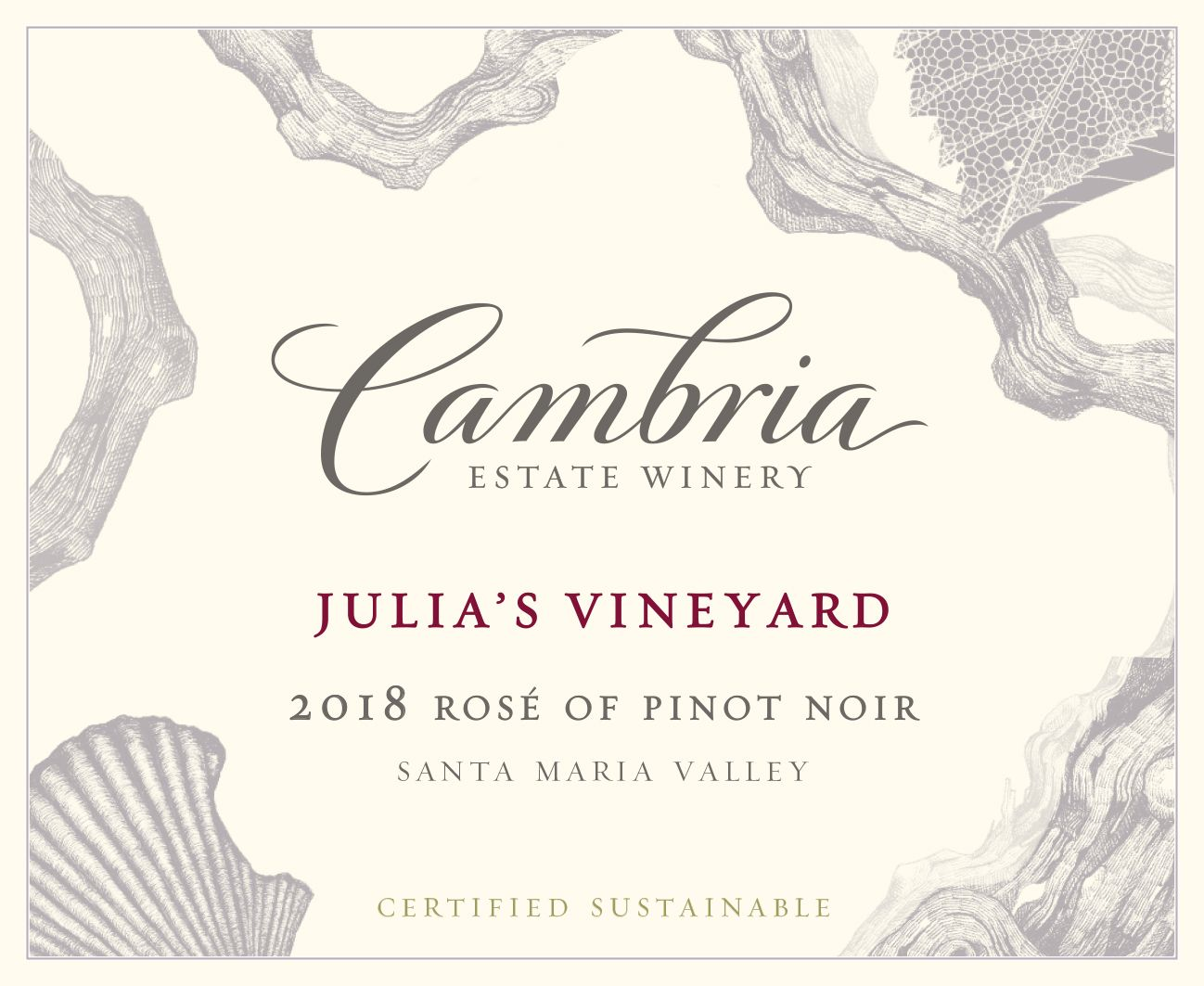 Cambria Julia's Vineyard Rose of Pinot Noir 2018 Front Label