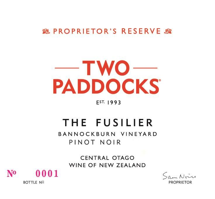 Two Paddocks Fusilier Pinot Noir 2016 Front Label