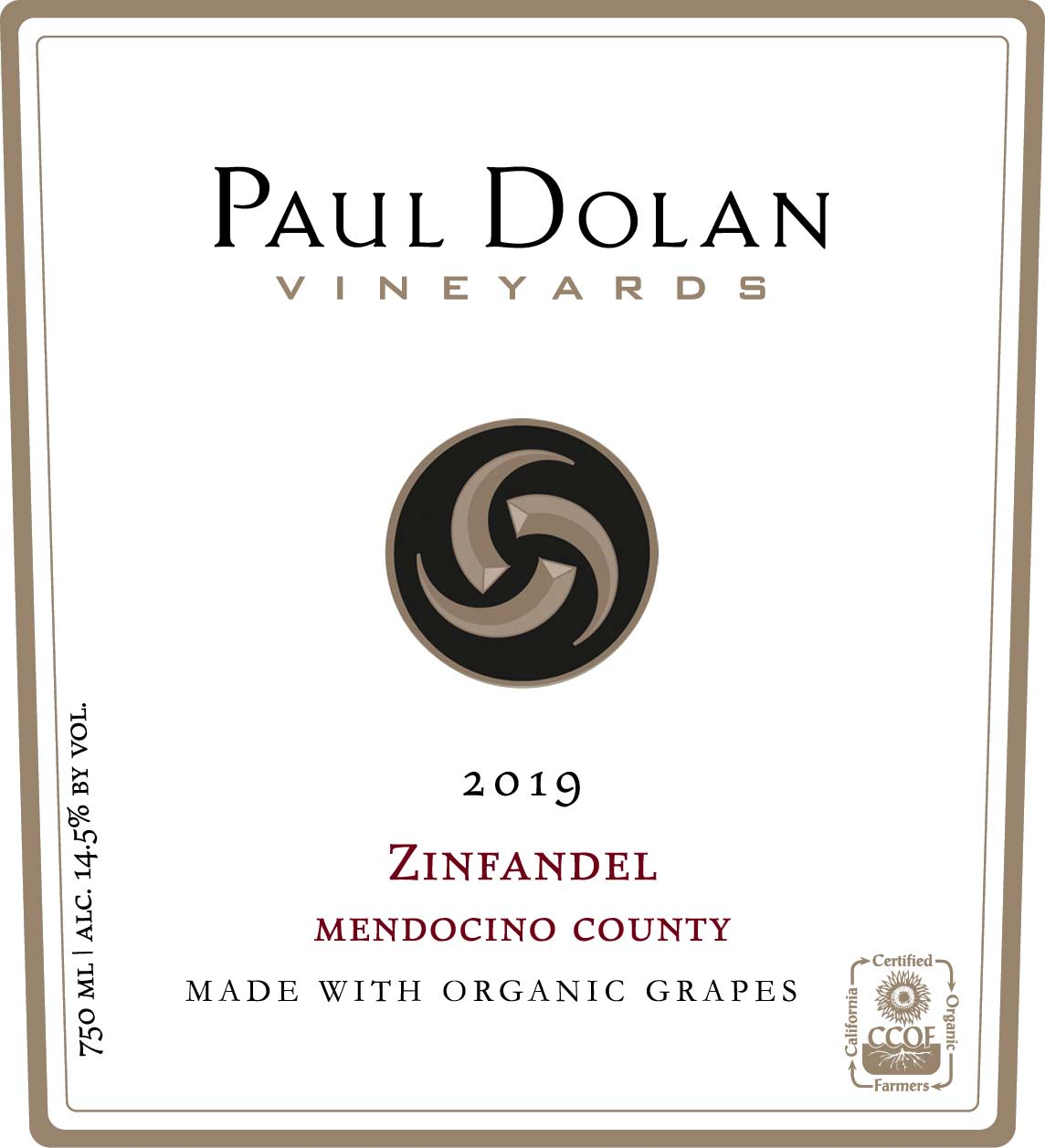 Paul Dolan Vineyards Organically Grown Zinfandel 2019  Front Label