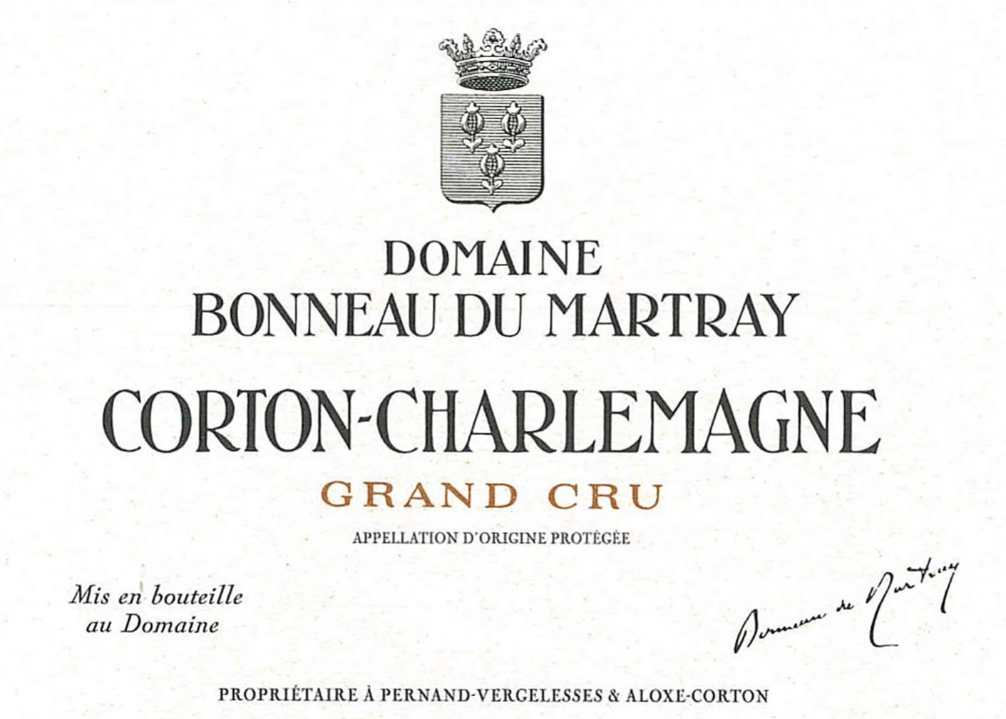 Bonneau du Martray Corton-Charlemagne Grand Cru (375ML half-bottle) 2018  Front Label
