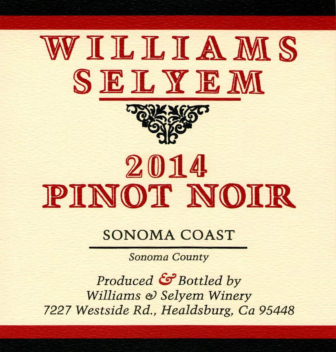 Williams Selyem Sonoma Coast Pinot Noir 2014 Front Label