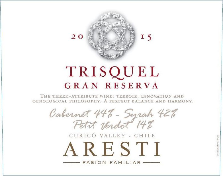 Aresti Trisquel Gran Reserva Red Blend 2015 Front Label