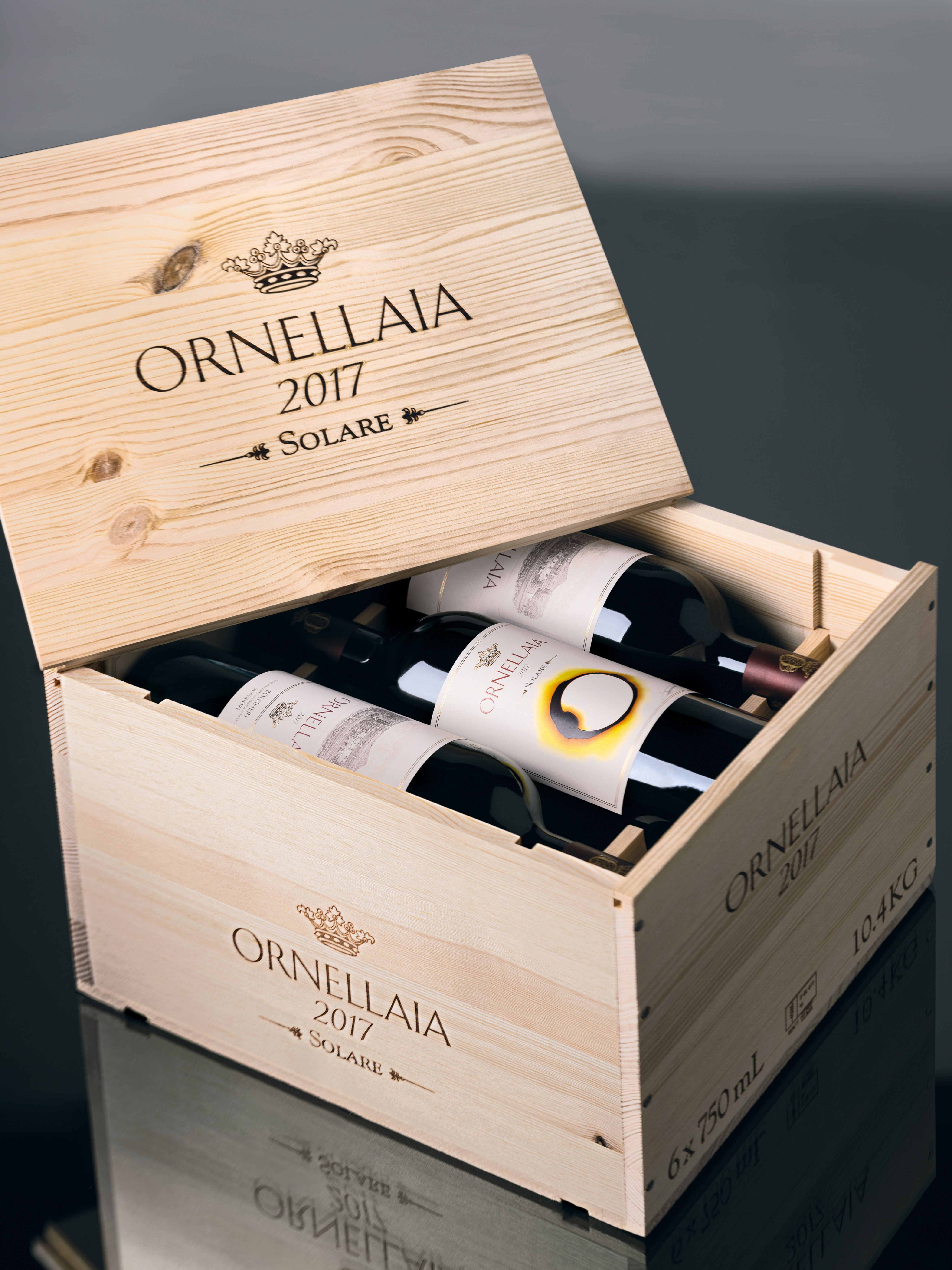 Ornellaia 6-Pack 2017 Wood Case (OWC)  Front Label