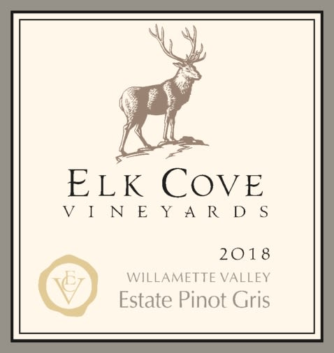 Elk Cove Pinot Gris 2018  Front Label
