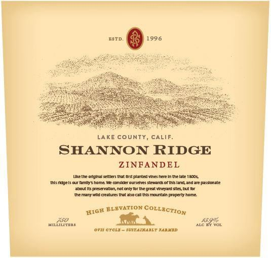 Shannon Ridge High Elevation Zinfandel 2018  Front Label