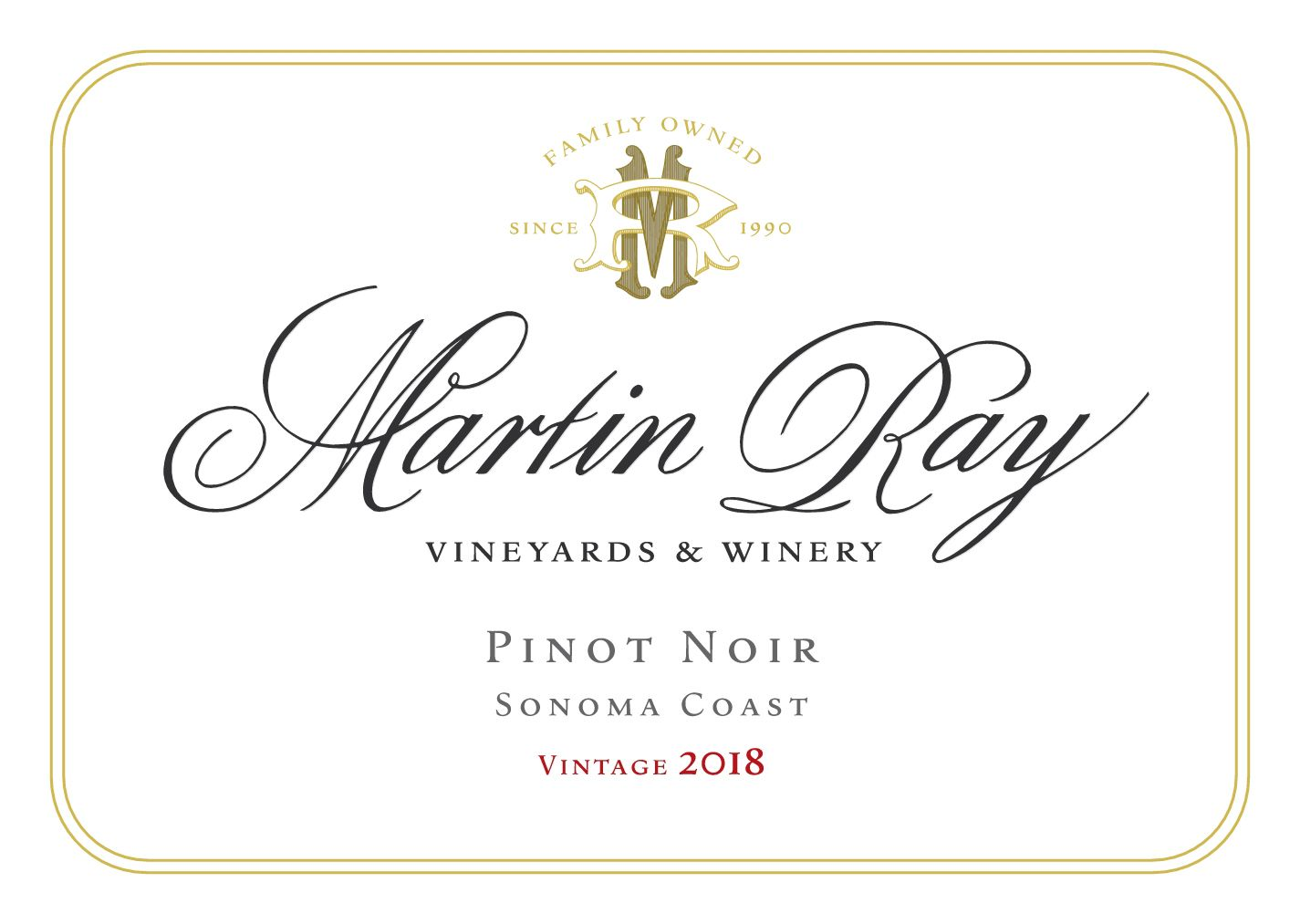 Martin Ray Sonoma Coast Pinot Noir (375ML half-bottle) 2018  Front Label