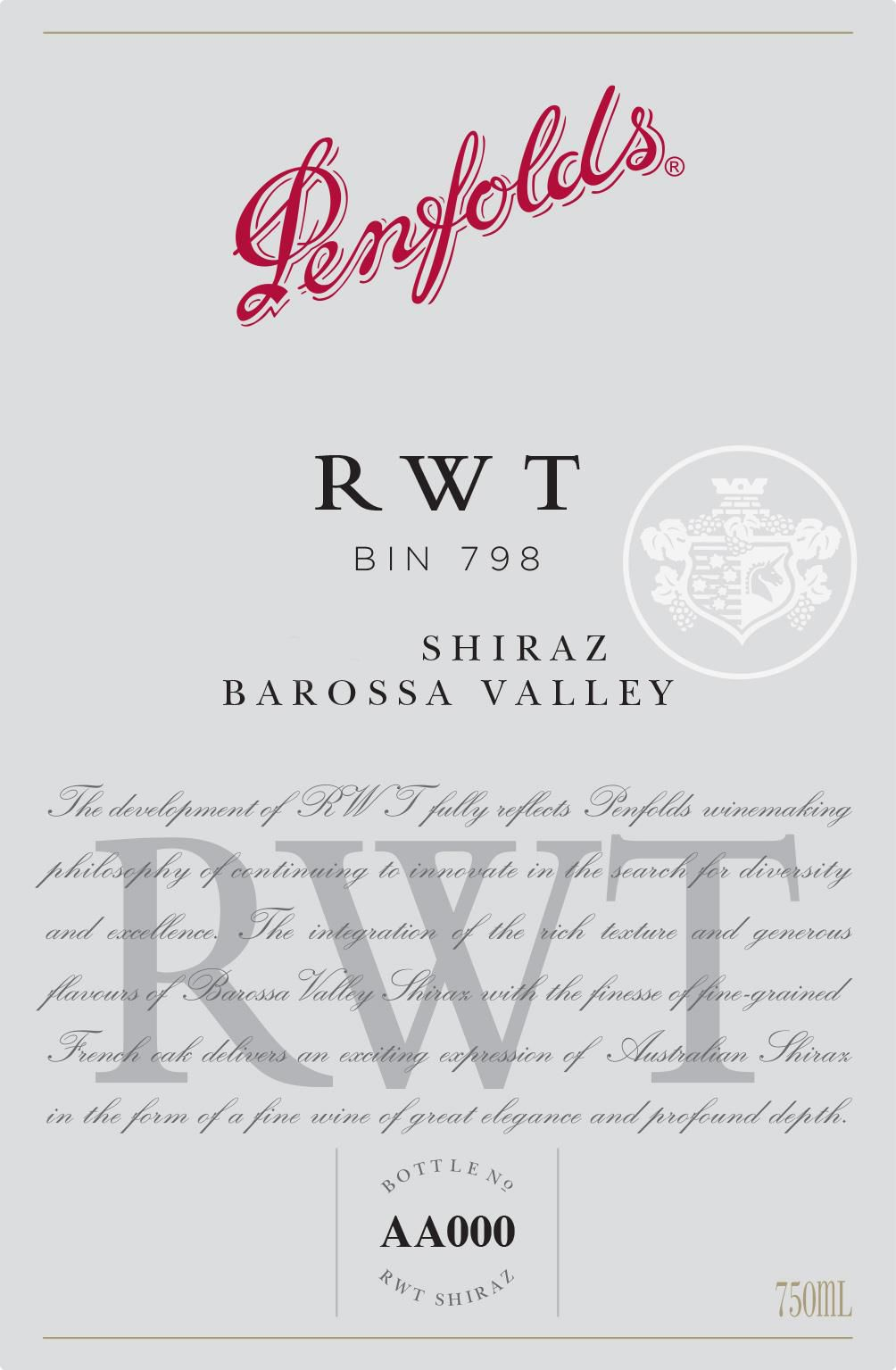 Penfolds RWT Shiraz 2017  Front Label