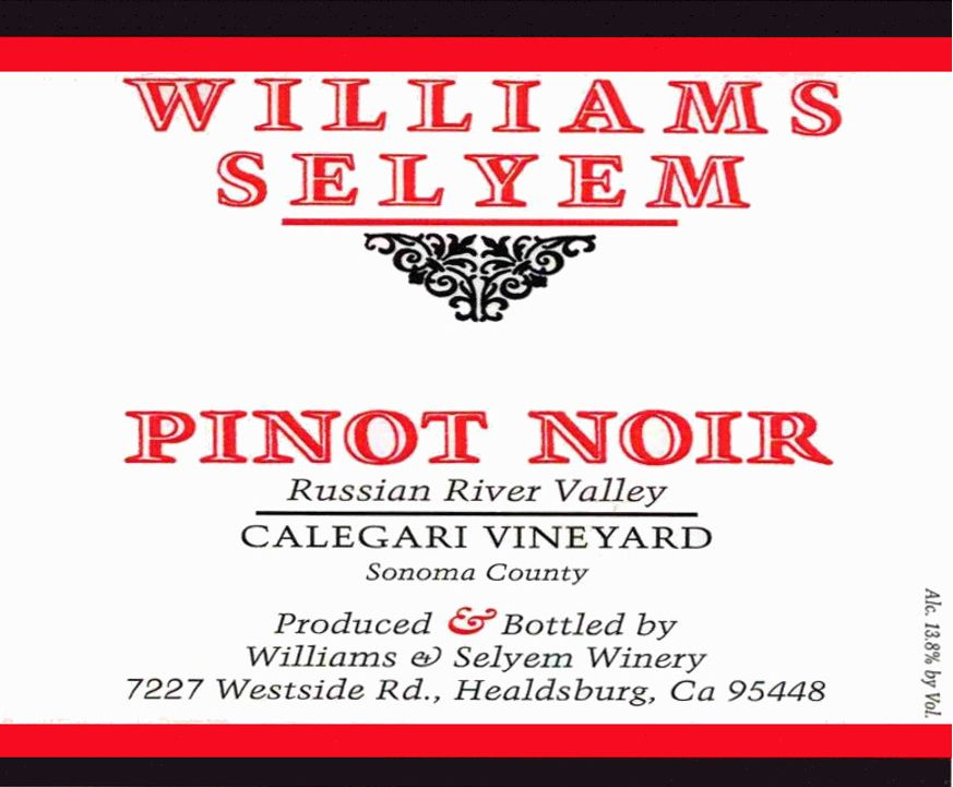 Williams Selyem Calegari Vineyard Pinot Noir 2017  Front Label