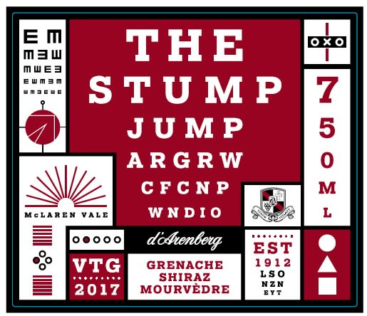 d'Arenberg The Stump Jump Red 2017  Front Label