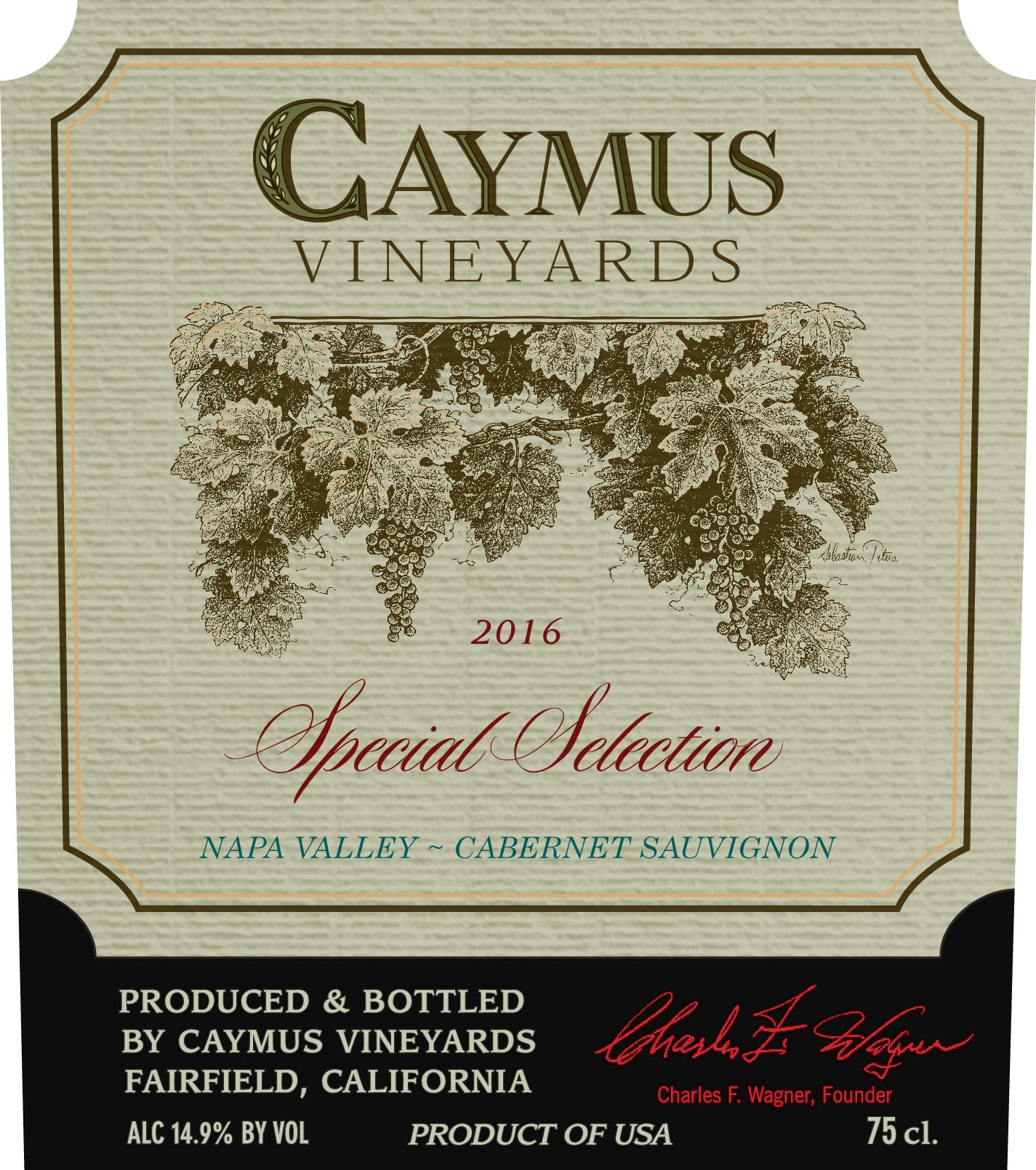 Caymus Special Selection Cabernet Sauvignon 2016  Front Label