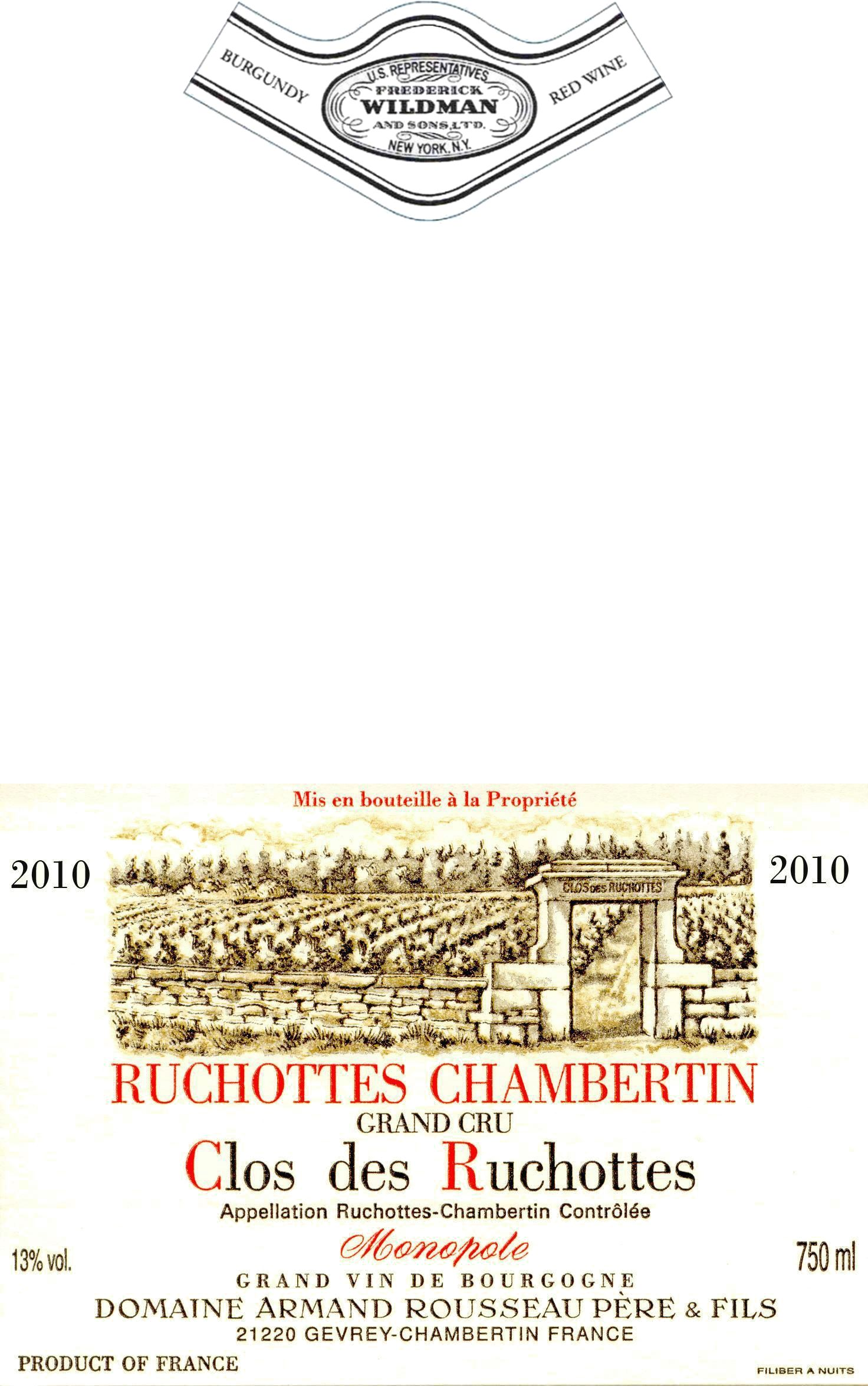 Domaine Armand Rousseau Ruchottes Chambertin Clos des Ruchottes Grand Cru 2010  Front Label