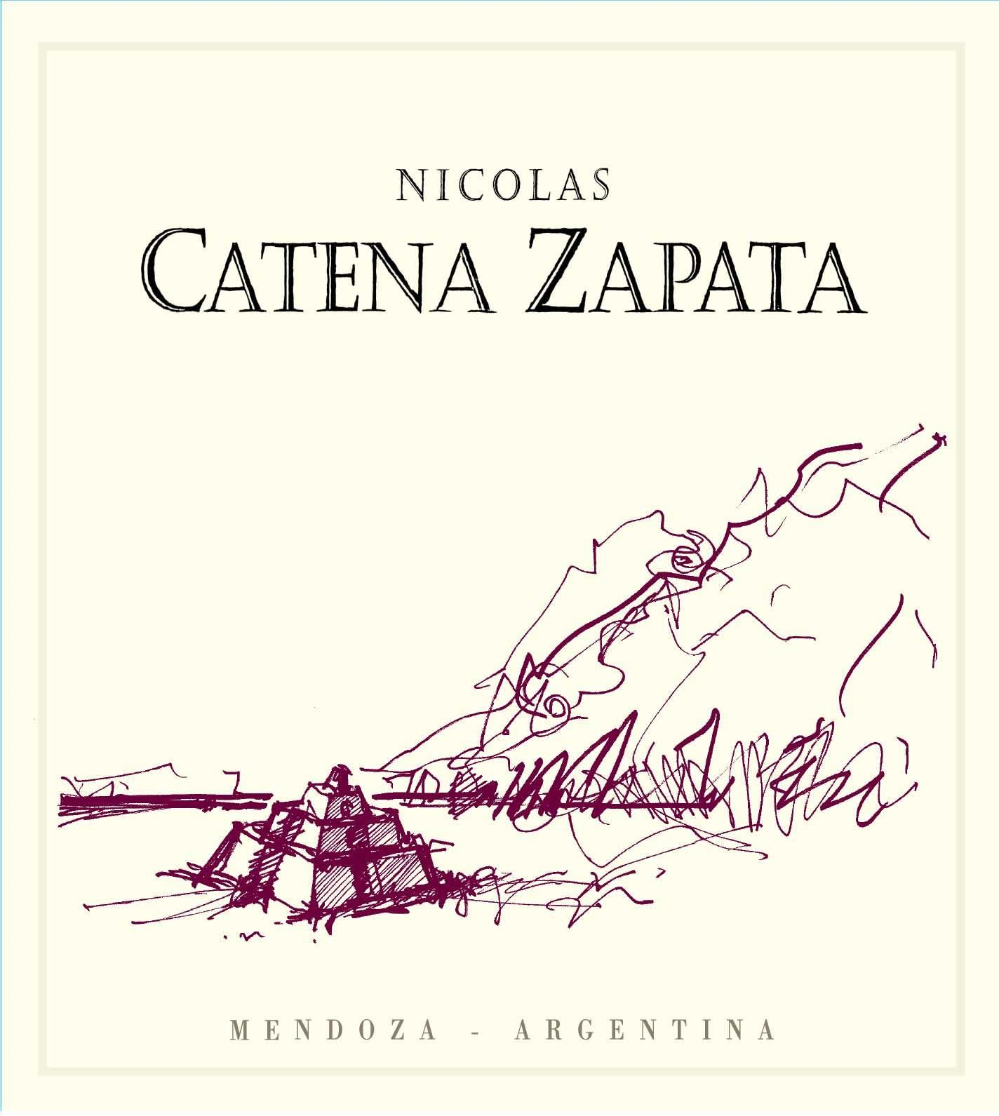 Catena Zapata Nicolas (stained labels) 2004 Front Label